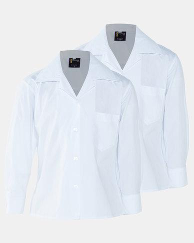 Schoolwear SA Girls 2 Pack School Long Sleeve Shirt White