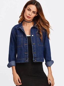 Elite Occasions Dual Pocket Cropped Denim Jacket
