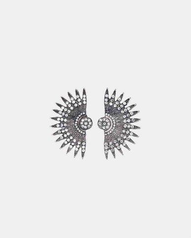 We Heart This Silver Geometric Fan Earrings