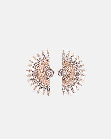 We Heart This Gold Geometric Fan Earrings
