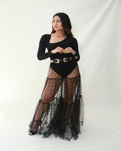 INFIN8TI Polka Dot Tier Mesh Maxi Skirt