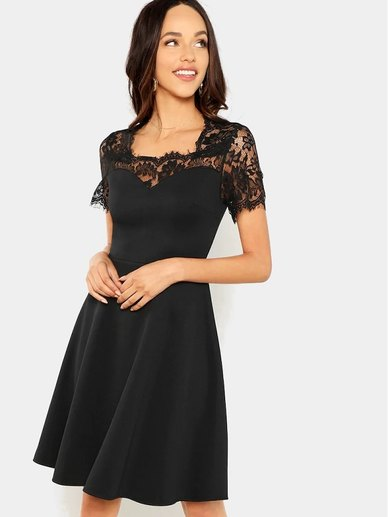 Elite Occasions Eyelash Lace Yoke Fit & Flare Dress