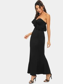 Elite Occasions One Shoulder Ruffle Dip Hem Dress