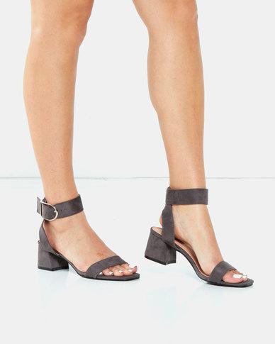 Legit Banded Low Block Heel Mule Sandals with Big Buckle Charcoal