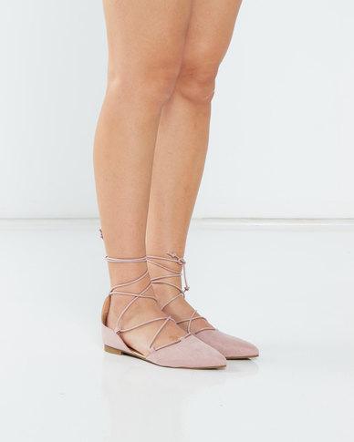 Legit S19  Lace-Up Pointy Pumps Blush