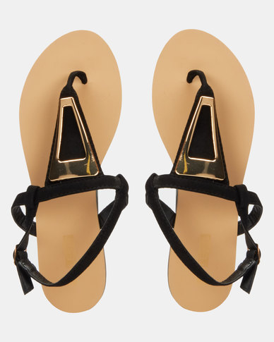 Legit S19 Thong Flat Sandals with Cut-Out Triangle Metal Black