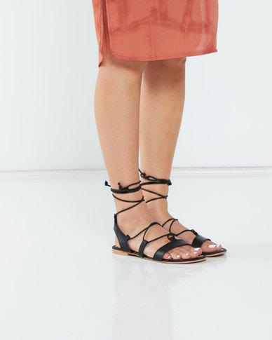 Legit S19 Mule Ghilly Lace-Up Flat Sandals Black