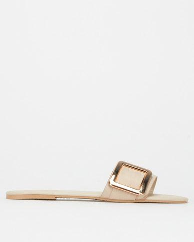 Legit S19 Flat Mule Sandals with Square Trim Blush