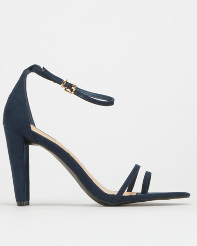 Legit S19 Flat Block Heel Pointy Sandals W Toe Post Navy