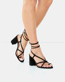 Legit Mid Block Heels with Toe Post Knotted Lace Up Black