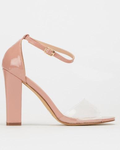 Legit S19 Block Heel Sandals With Vinyl Vamp Blush