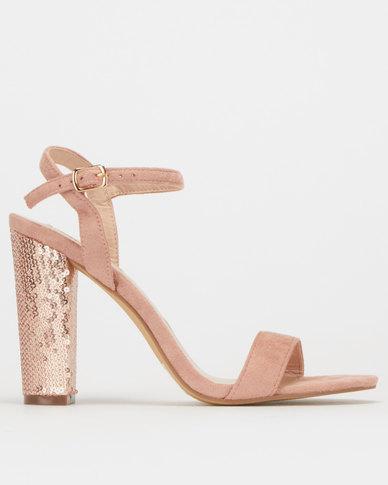 Legit S19 Sequins Detail Block Heel Sandals Blush