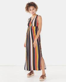 Legit Sleeveless Wrap Waisted Knit Maxi Dress Multi
