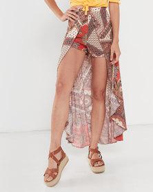 Legit Curved Skirt Overlay Shorts Multi