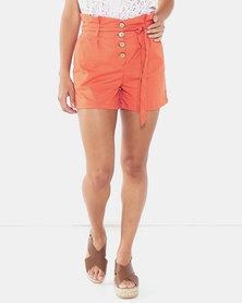 Legit Paperbag Linen Shorts Rust