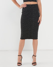 Legit Jacquard Animal Pencil Skirt Black