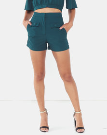 Legit Front Tabs Button Detail Shorts Teal