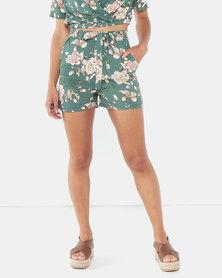 Legit Tie Belt Shorts Floral Green