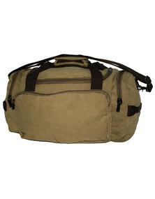 Fino Overnight Hand & Shoulder Canvas Duffel Bag-Khaki