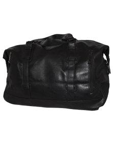 Fino PU Leather Duffle Bag - Black