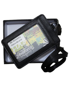 Fino Genuine Leather Identification Holder and Lanyard with  Box - Black
