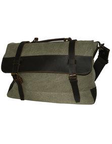 Fino Vintage Canvas Genuine Leather Messenger Bag- Green