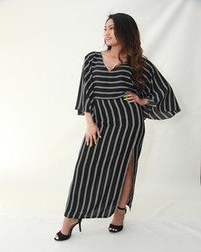 INFIN8TI Stripe Slit Maxi Skirt