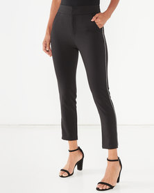Sissy Boy Girl Boss Trousers With Bling Trim Detailing Black