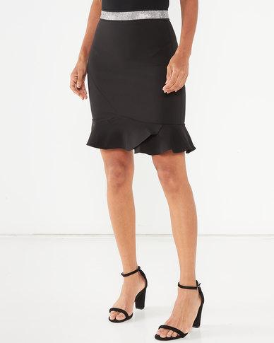Sissy Boy Girl Boss Peplum Skirt With Bling Waistband Black