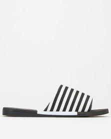 Via Beach Varleni Stripe Slides Black