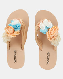Via Beach Amsterdam Flower Platform Wedges Nude