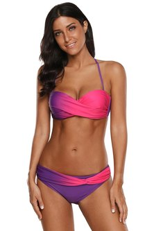 Princess Lola Boutique Glow Out Ombre Twist Bikini - Pink