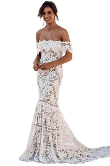 Cross My Heart Off Shoulder Scalloped Lace Gown