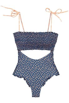 Princess Lola Boutique - Beach Vixen Smocked Monokini - Blue Polka