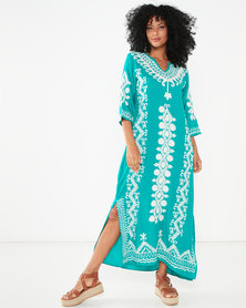 Allegoria Embroidered Maxi Kaftan Green