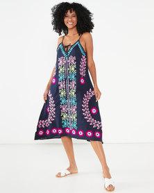 Allegoria Embroidered Maxi Sleeveless Dress Blue/Purple