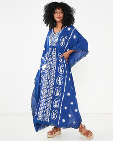 Allegoria Embroidered Maxi Kaftan Blue