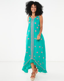 Allegoria Embroidered Sleeveless Maxi Dress Green