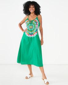 Allegoria Embroidered Maxi Dress Green