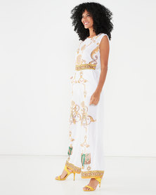Allegoria Digital Print Jumpsuit  White And Gold