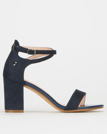 Polo Morgan Ankle Strap Suede Heel Sandals Navy