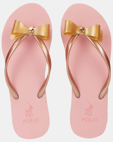 Polo Mila Jelly Striped Flip Flops Gold