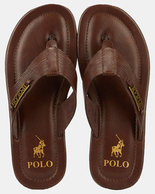 Polo Alex Leather Thong Sandals Brown
