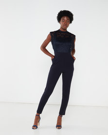 Revenge Lace Top Jumpsuit Navy