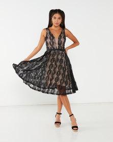 Revenge Formal Flared Dress Black