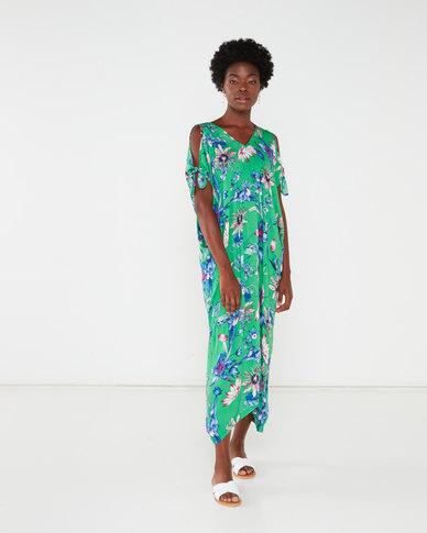 Revenge Print Kaftan Dress Green Multi