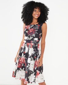Revenge Flared Rose Print Dress Black