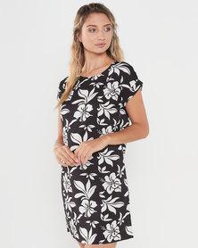 Revenge T-shirt Style Printed Dress Black