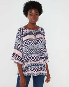 Revenge Multi Print Top Navy
