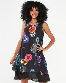 Revenge Circle Print Flared Dress Black